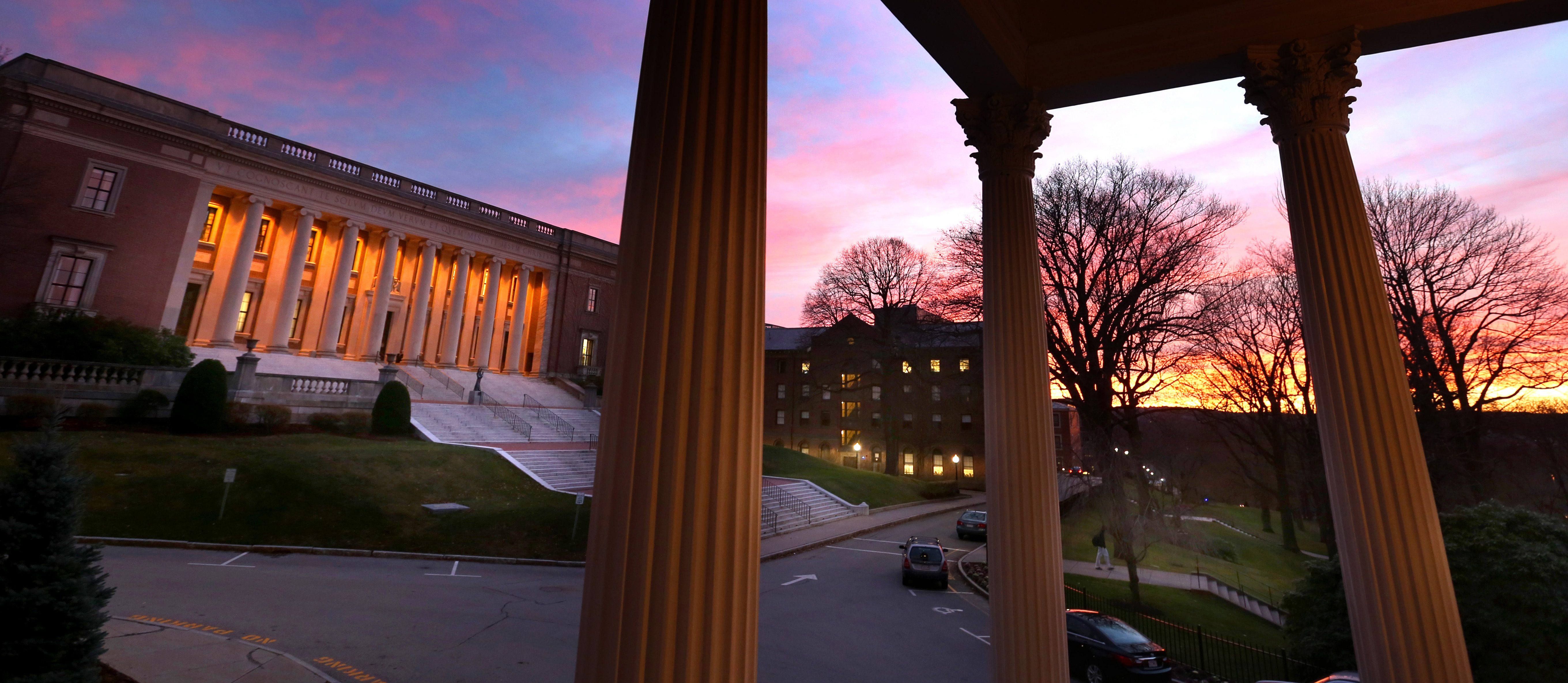 Dinand Library, College of the Holy Cross, at sunset