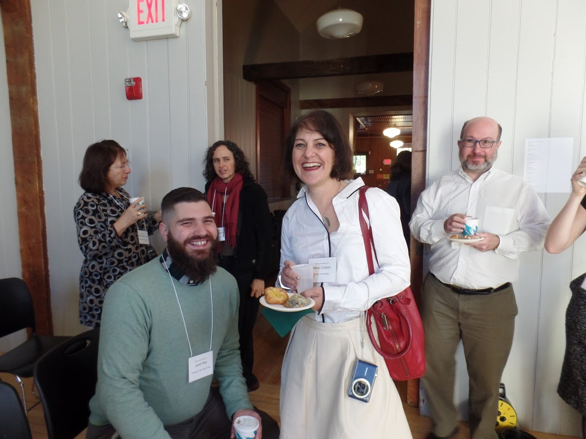 Jared Rex, Marci Cohen and other attendees gather for breakfast at Bennington. Photo by Zoe Rath.